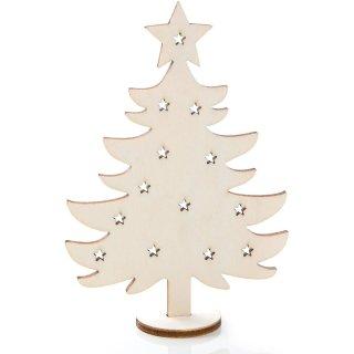 3 Weihnachtskarten mit Kuvert & Geschenk - kleiner Baum aus Holz