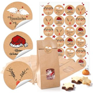 24 weihnachtliche Aufkleber mit 4 cm Durchmesser + Weihnachtstüten (10,5 x 6,5 x 29 cm) mit FENSTER lebensmittelecht