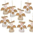 8 Weihnachtsengel Anhänger aus Holz Gold Natur...