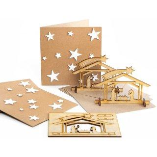 3 Weihnachtskarten mit Krippe aus Holz - weihnachtliche Grußkarten