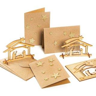 3 weihnachtliche Klappkarten - braun gold glitzernd - mit Krippe aus Holz