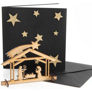3 quadratische Weihnachtskarten gold schwarz mit Krippe aus Holz