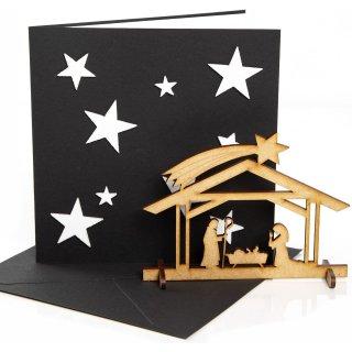 3 Weihnachtskarten schwarz weiß mit Umschlag + kleine Krippe aus Holz