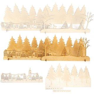 Winterliche Landschaft aus Holz - mehrteiliges Dekoobjekt aus Holz