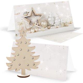 3 weihnachtliche Grußkarten mit Umschlägen + 3 Weihnachtsbäume
