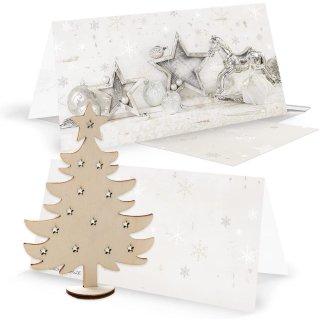 3 weihnachtliche Grußkarten silber weiß + Umschläge + Dekobaum aus Holz