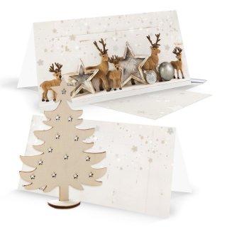 3 Weihnachskarten silber weiß mit Kuvert + Weihnachtsbaum aus Holz