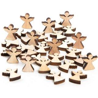 32 Mini Holzengel Natur braun - Streudeko aus Holz 2 cm