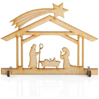3 Krippen Miniaturen aus Holz - Tischkrippe kleine Krippenfiguren zum Verschenken