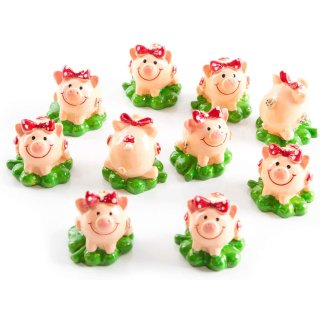 24 kleine Glücksschweinchen auf Kleeblatt mit roter Schleife