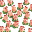 24 kleine Glücksschweinchen auf Kleeblatt mit roter...