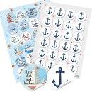 Sticker SET 24 maritime Sprüche Aufkleber + 24 Anker...