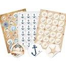 Maritimes Sticker Set - 72 Aufkleber ohne Text Anker +...