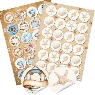 2 x 24 selbstklebende Sticker - 24 Muscheln + 24 maritime Motive