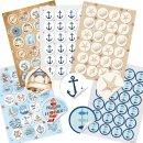 120 maritime Sticker - Anker + Fische + Muscheln +...