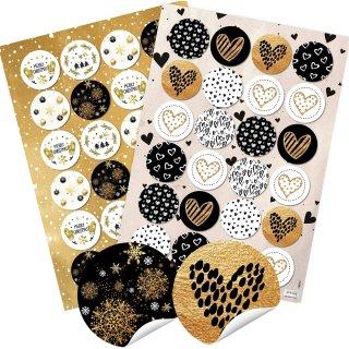 24 Weihnachtsaufkleber MERRY CHRISTMAS + 24 Herz Sticker gold schwarz weiß
