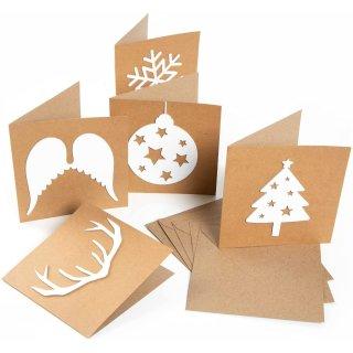 5 Stück Weihnachtskarten 15 x 15 cm - schwarz oder braun - mit Umschlag