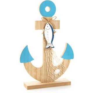 Große Ankerfigur aus Holz braun türkis 30 cm - mit Fischanhängern