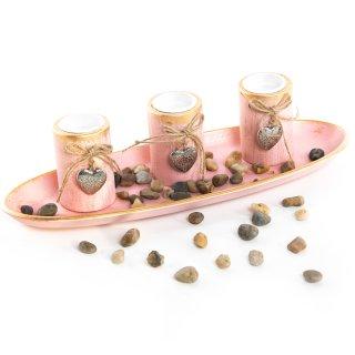 Teelichthalter Dekoschale rosa pink Gold - Dekoset 39 cm