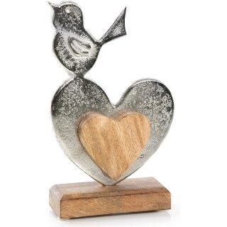 Herz Figur aus Metall & Holz mit Vogel - Dekofigur Dekoobjekt zum Hinstellen