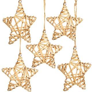 5 Sterne Anhänger - Rattan Strohsterne 10 cm - natur braun