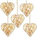 5 Herzanhänger aus Metall & Rattan - natürliche Deko Herzen zum Aufhängen