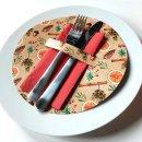 10 runde Tellerdeckchen weihnachtlich orange braun