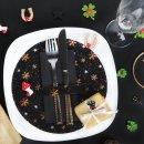 10 weihnachtliche Tischsets schwarz gold - Tellerdeckchen rund 21 cm