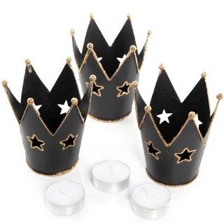 3 große Kronen Teelichthalter schwarz gold mit Glitzer - glitzernde Windlichter 11 cm