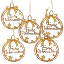 5 Weihnachtsanhänger aus Holz mit Text Frohe...